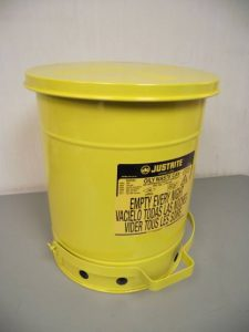 Justrite 09301 10-Gallon Yellow Oily Waste Can - New Surplus