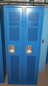 "Lyon Single-Tier 12""x12""x60' Blue Mesh Front Lockers - New Surplus"