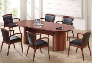 American Cherry Conference Tables w/ Half drum Bases - New Surplus