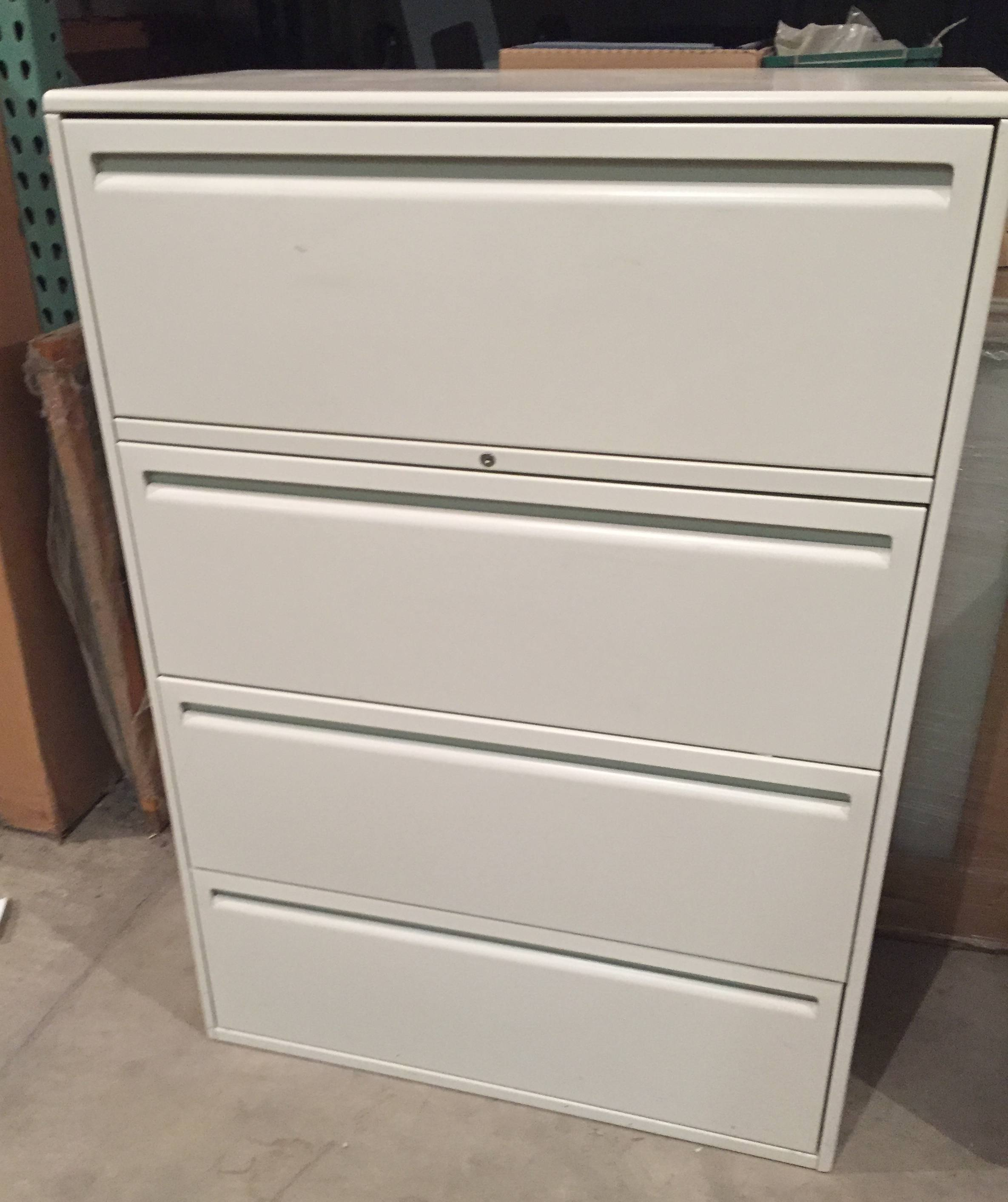 4-Drawer Haworth 36u2033 Wide Putty Lateral Files u2013 Used & 4-Drawer Haworth 36