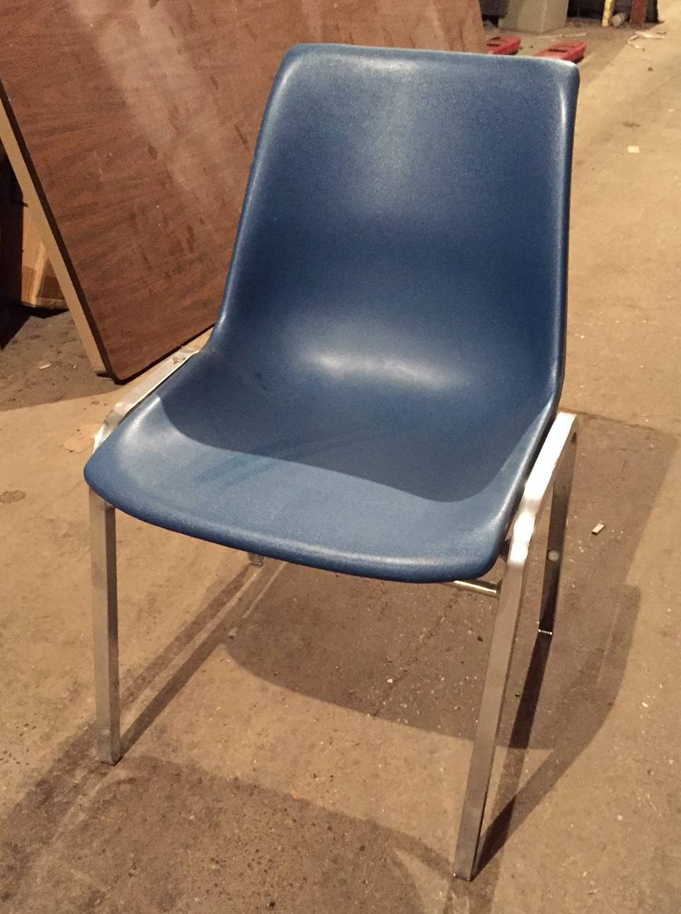 Molded Plastic Stack Chairs Blue Brown Gray Used Welter Storage