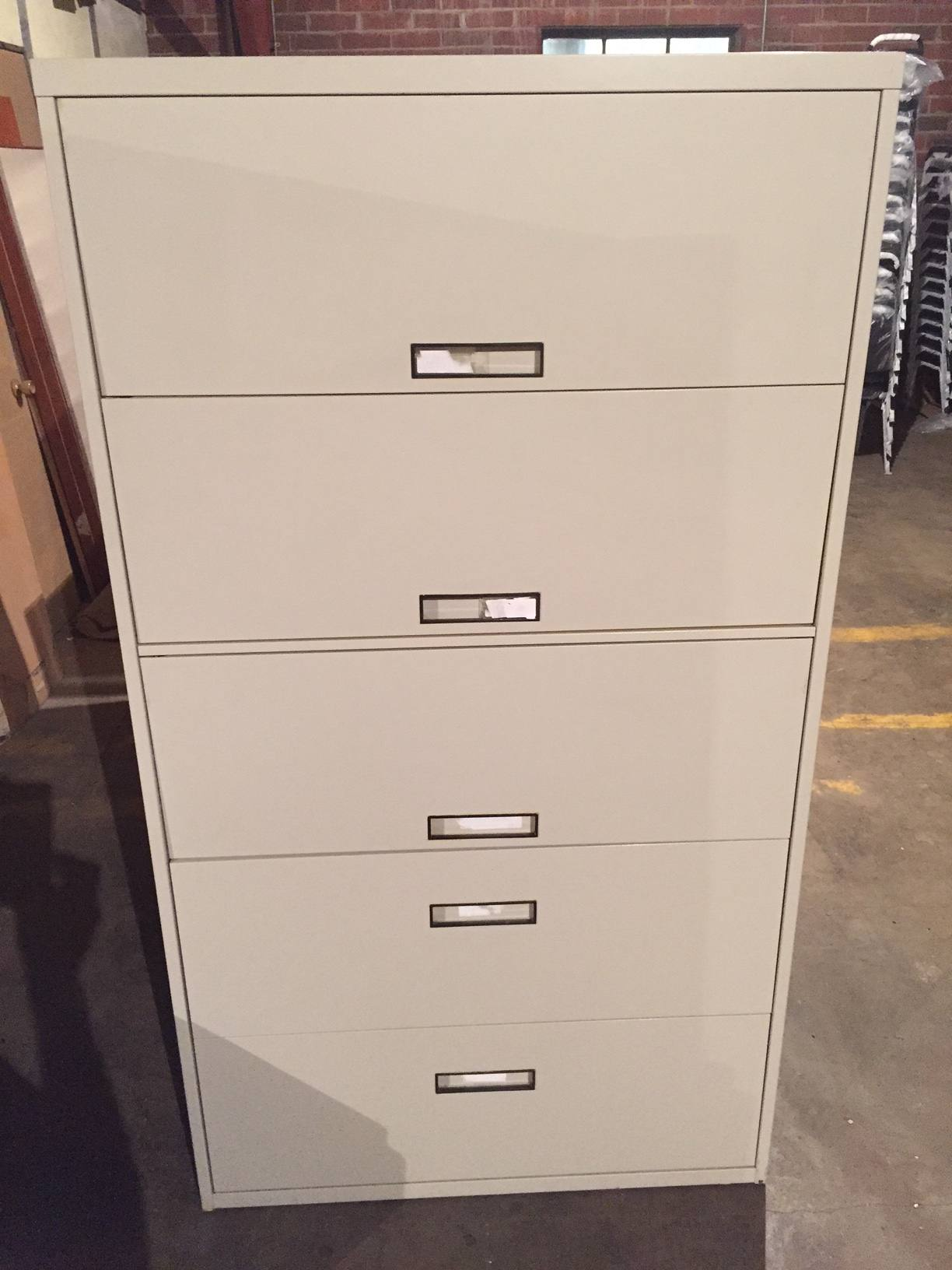 5 Drawer Steelcase 36u2033 U0026 42u2033 Wide Putty Lateral File Cabinets W/Flip Pull  Doors U2013 Used