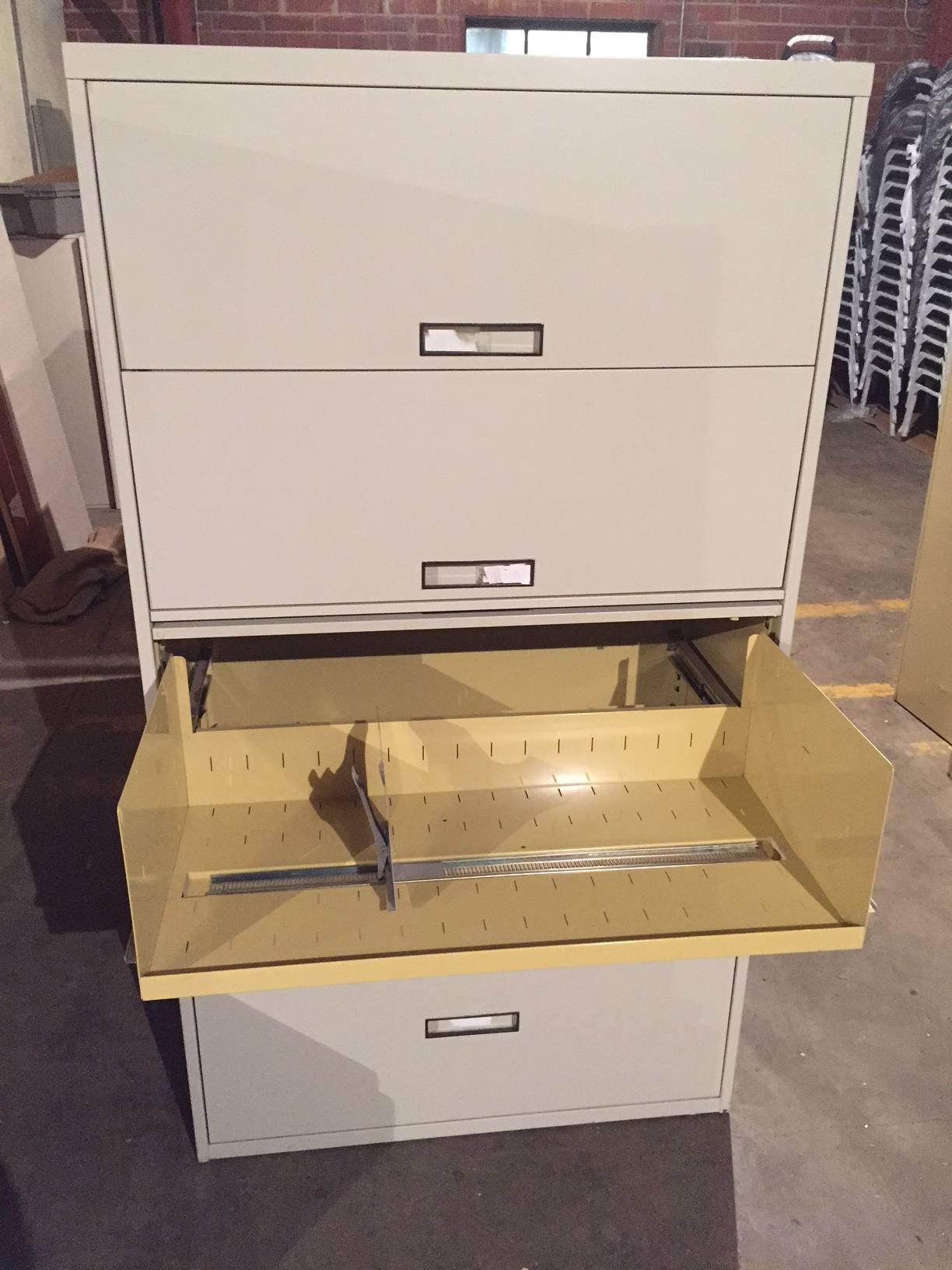 5 Drawer Steelcase 36u2033 U0026 42u2033 Wide Putty Lateral File Cabinets W/Flip Pull  Doors U2013 Used