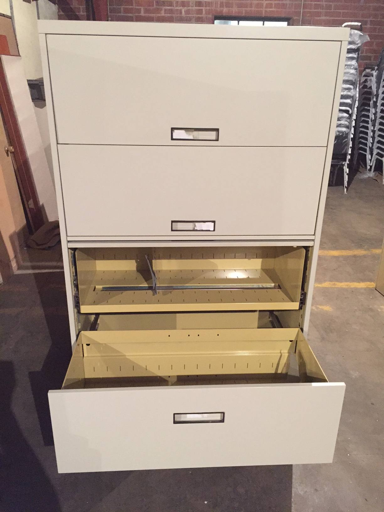 5-drawer steelcase 36 u0026quot   u0026 42 u0026quot  wide putty lateral file cabinets w  flip-pull doors - used