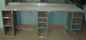 """30""""x96"""" Steel Framed Workbench with Storage Slots - Used"""