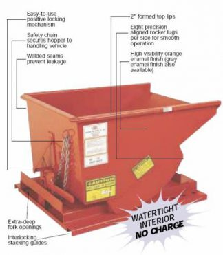 1-1/2 Yard / 2000# Capacity MECO Dump Hopper - New
