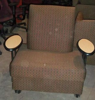 Brown Pattern Lounge Chairs on Casters - Used