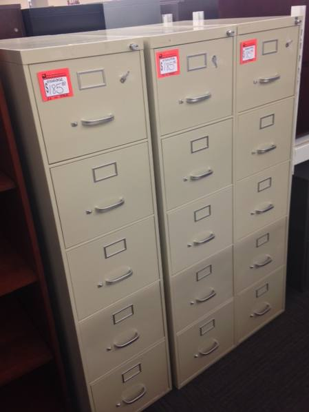 5 Drawer Steelcase Letter Size Putty File Cabinets Used