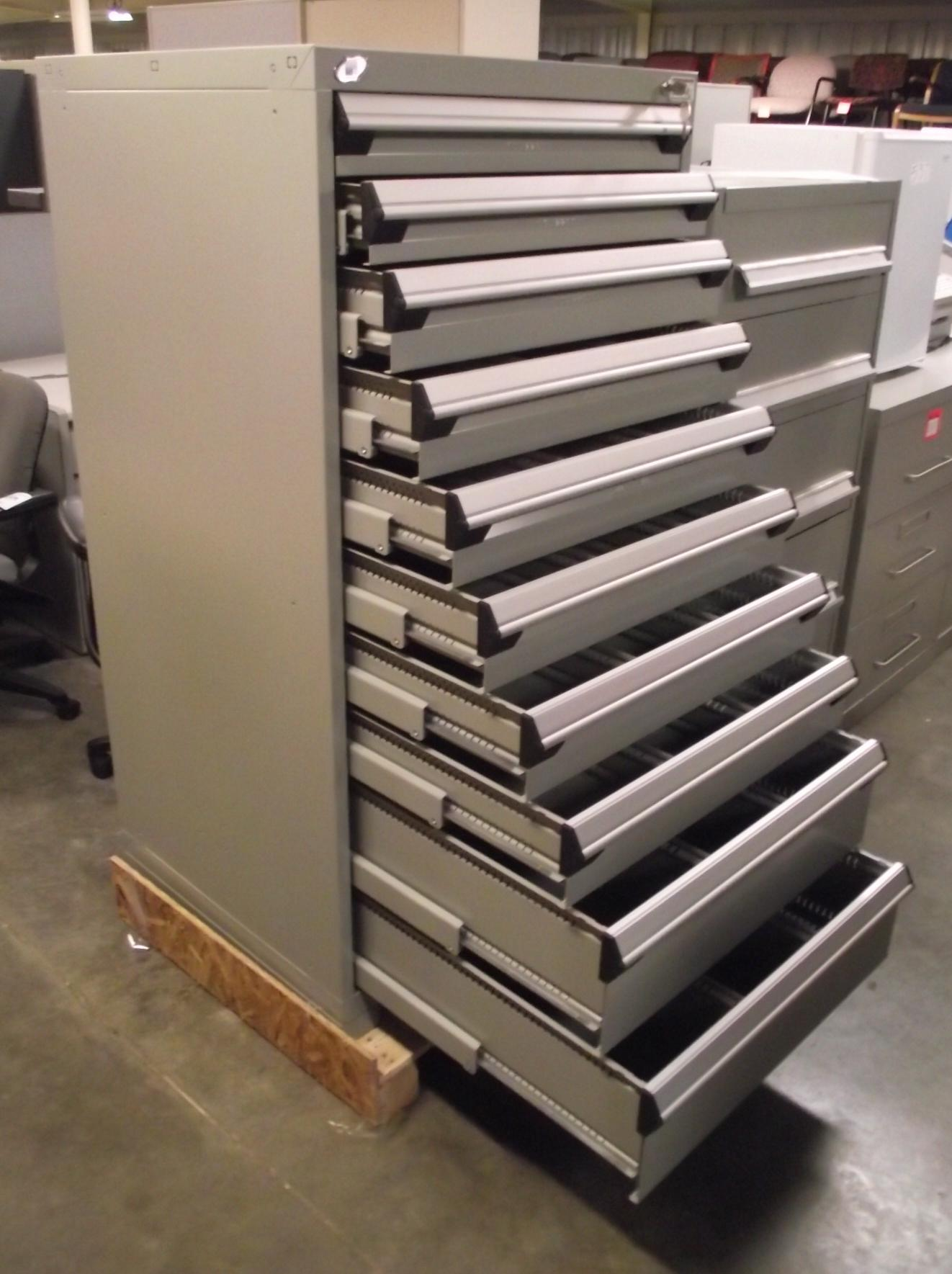 Rousseau 10 Drawer Gray Modular Parts Cabinet New