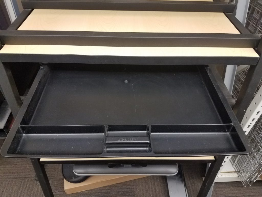 Used Steelcase Center Drawer Black Plastic Welter Storage