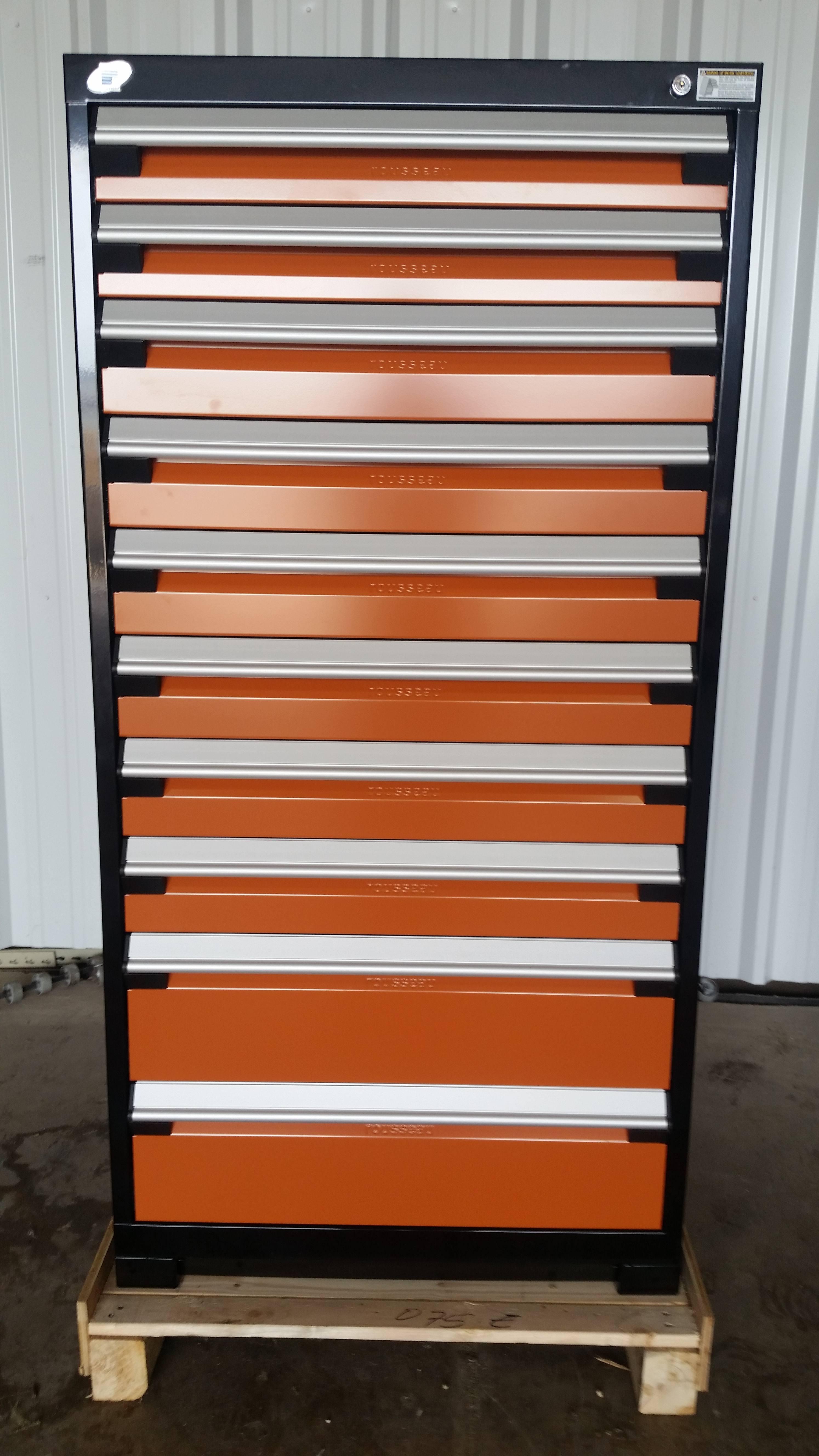 Beau Rousseau 10 Drawer Black U0026 Orange Modular Parts Cabinet U2013 New